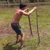 ヘビでウサギを釣る