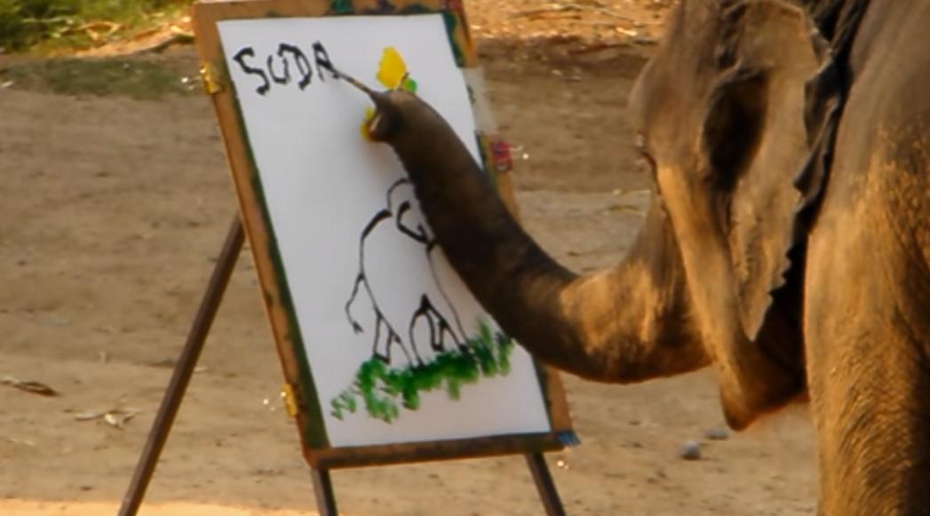 ゾウ氏、ゾウの絵を描く・・・タイの象「SUDA」による公開ペインティンングがすごい